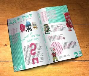"""Double page de magazine. Exercice d'école.Création d'une double page dynamique et plaisante à lire sur le thème des """"Art Toy""""."""
