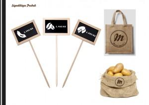 Création de l'identité visuelle d'une épicerie dans un style vintage. L'épicerie se veut économique et proche du consommateur.