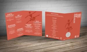 """Création de l'affiche et du programme """"Parcours Danse"""" à partir de modules de la typographie LL Circular."""