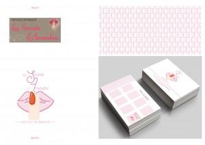 Refonte d'un logo pour un institut de beauté. Création d'un motif. Création de la carte de visite/carte de fidélité.