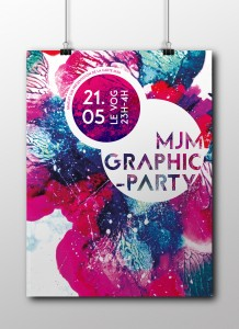 Création de l'affiche pour la MJM Party. Travail d'école réalisé avec Elise Evrard.